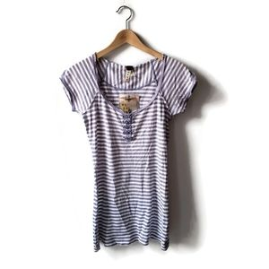 We The Free Free People Striped Henley Tee Medium